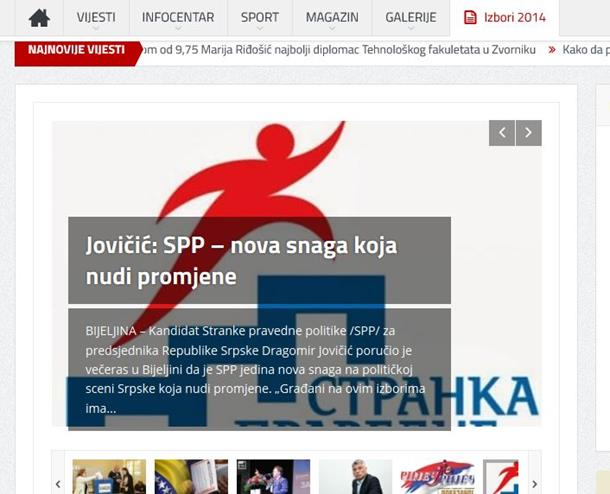 Plaćeno političko oglašavanje na portalu Zvornik Danas