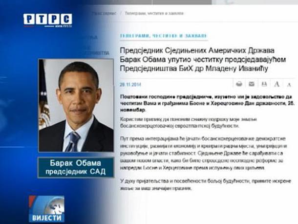 Obama čestitao Ivaniću
