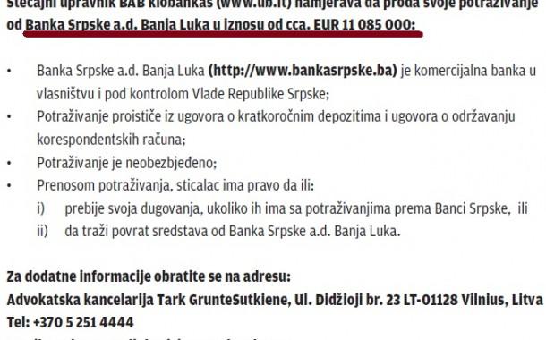 Ukio prodaje 11 miliona evra potraživanja od Banke Srpske