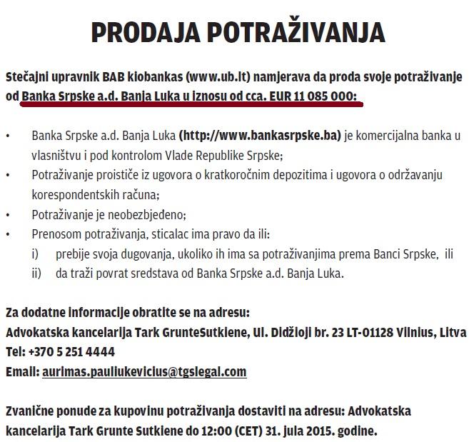 Photo of Ukio prodaje 11 miliona evra potraživanja od Banke Srpske