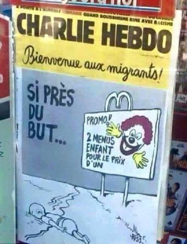"""Photo of """"Šarli ebdo"""" osvanuo s karikaturom o smrti sirijskog dečaka"""