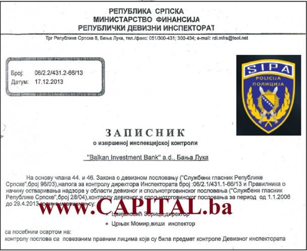 inspekcija u balkan investment banci