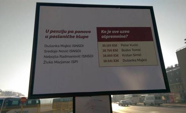Bilbord u Istočnom Sarajevu: Ko je sve uzeo otpremnine?