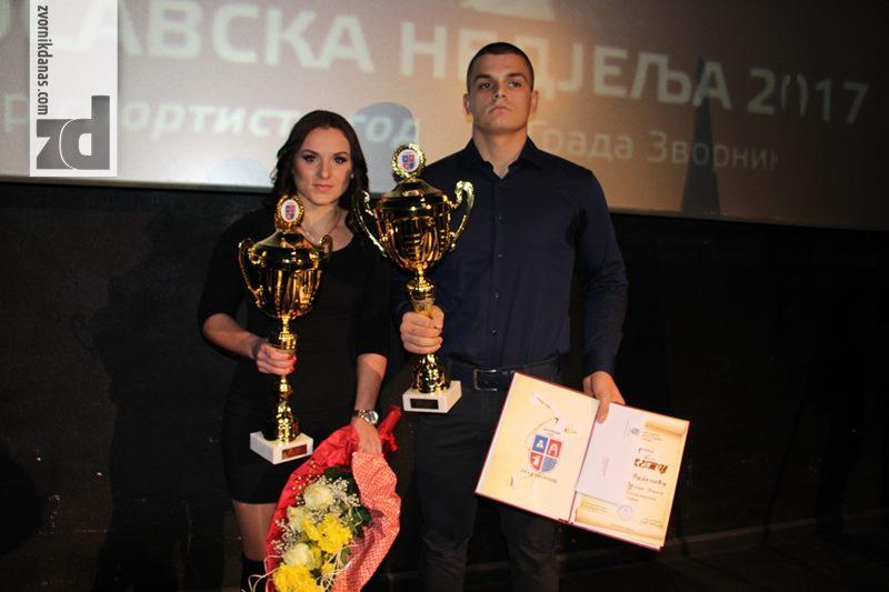 Photo of Vasilije Vujičić sportista i Valentina Šakotić sportistkinja godine grada Zvornik