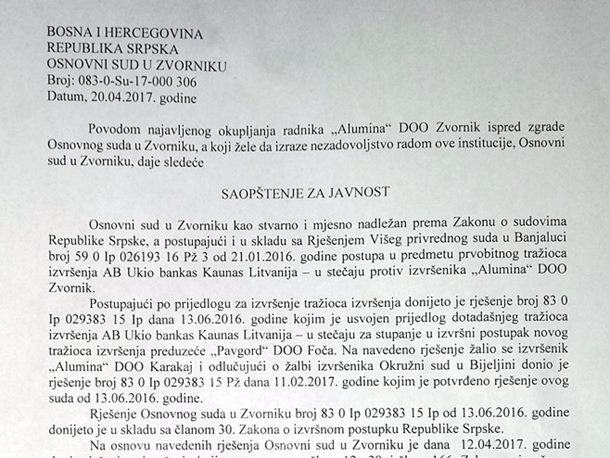 """Photo of Osnovni sud u Zvorniku: Blokada računa """"Alumine"""" ostaje dok se presuda ne ispuni u potpunosti"""