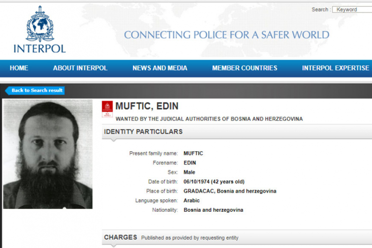Interpol raspisao potjernicu za Edinom Muftićem