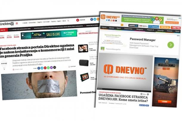 Facebook ugasio stranice desničarskih portala Direktno i Dnevno