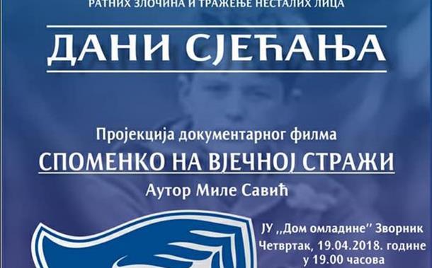 Photo of Dokumentarni film SPOMENKO NA VJEČNOJ STRAŽI pred zvorničkom publikom