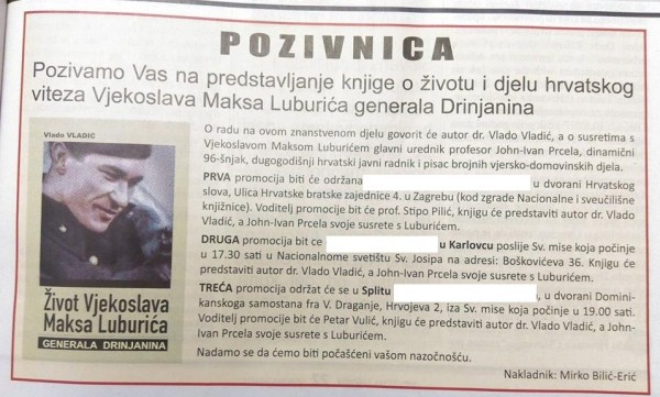 SRAMOTA KATOLIČKE CRKVE U HRVATSKOJ: Promocija knjige o koljaču Maksu Luburiću u crkvenim prostorijama