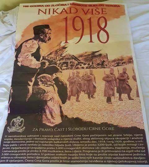 """""""NIKAD VIŠE 1918"""": Crna Gora obljepljena plakatima o """"srpskoj represiji"""""""