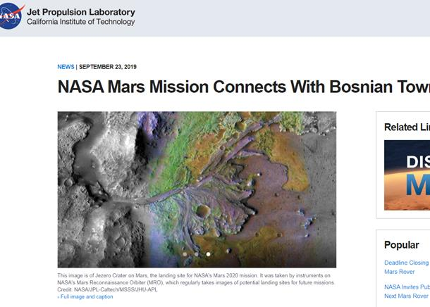 NASA objavila tekst o uručenju pisma načelniku opštine Jezero