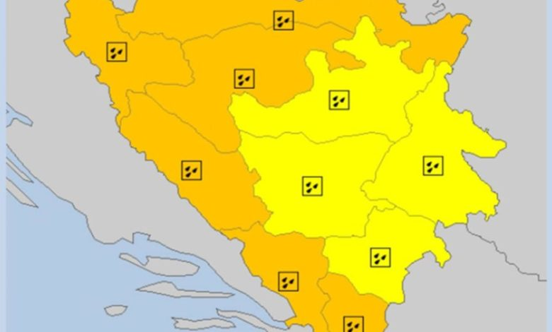 Photo of Narandžasto upozorenje za veći dio BiH
